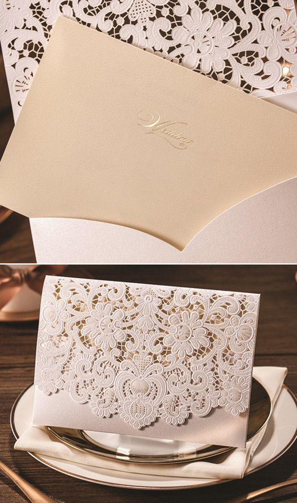 laser cut folded vintage lace wedding invitations