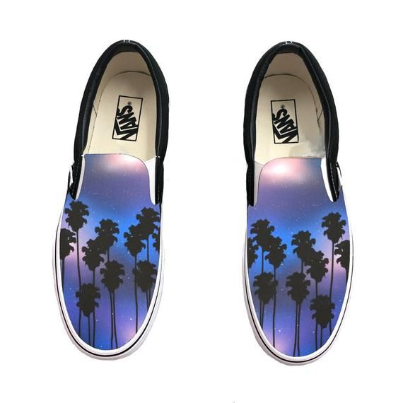 Hand Painted Tropical Galaxy Vans Slip Ons Palm Trees And Galaxy On Vans Shoes By Bstreetshoes