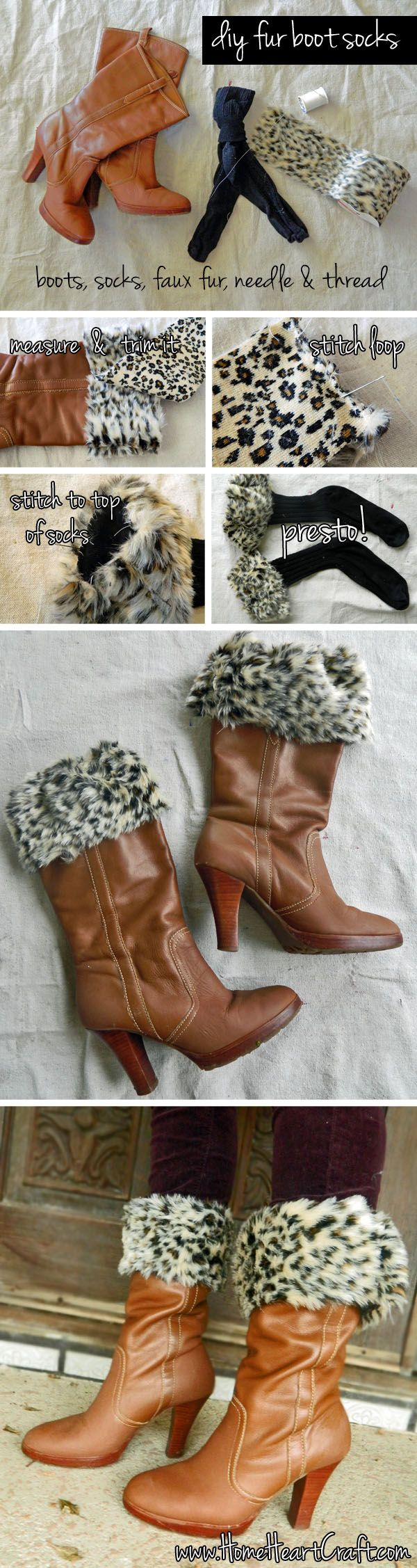 Faux Fur Boot Socks ... wouldn't do the brown/leopard combo, but this has potential.