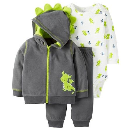 Shop fleece. LOVE this dino fleece set! Check out the hoodie details + bodysuit with expandable shoulders for easy changing.