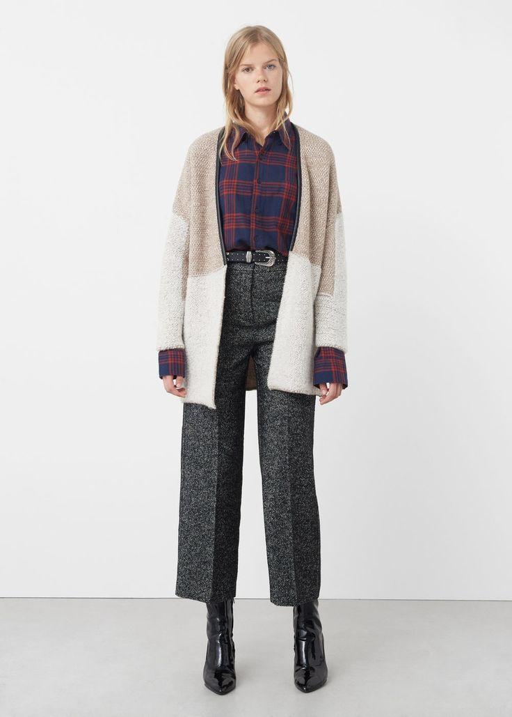 Cardigan laine combiné - Femme