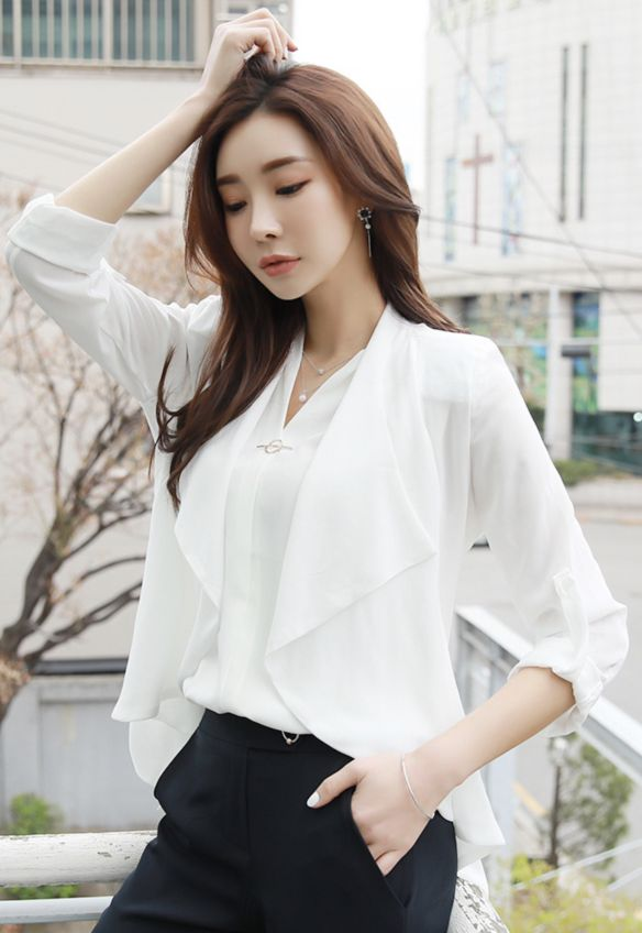 StyleOnme_Chiffon Open-front Jacket #ivory #chic #chiffon #jacket #feminine #koreanfashion #kstyle #kfashion #springtrend #officelook
