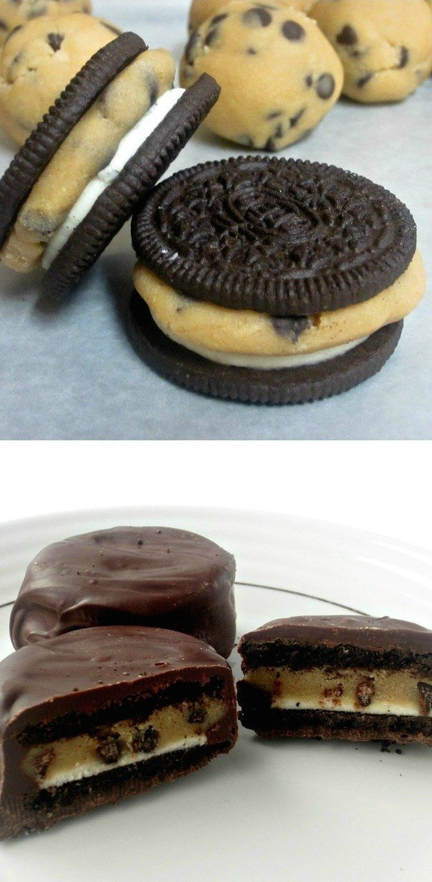 IDK, why not just put a chunk of dough inside an Oreo. And THEN coat it in chocolate? | 21 Unbelievably Delicious Things You Can Do To Cookie Dough