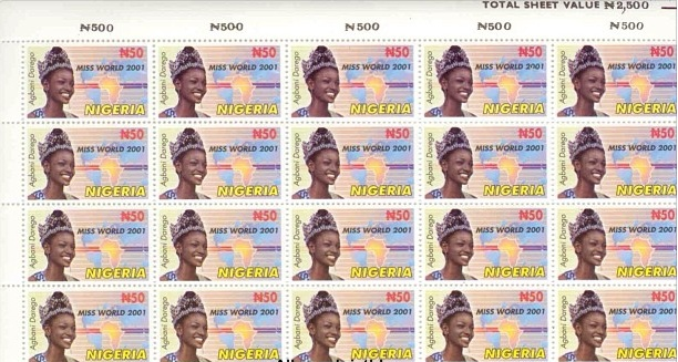 Agbani Darego (Miss World 2001) on the N50 Postage Stamps #Nigeria