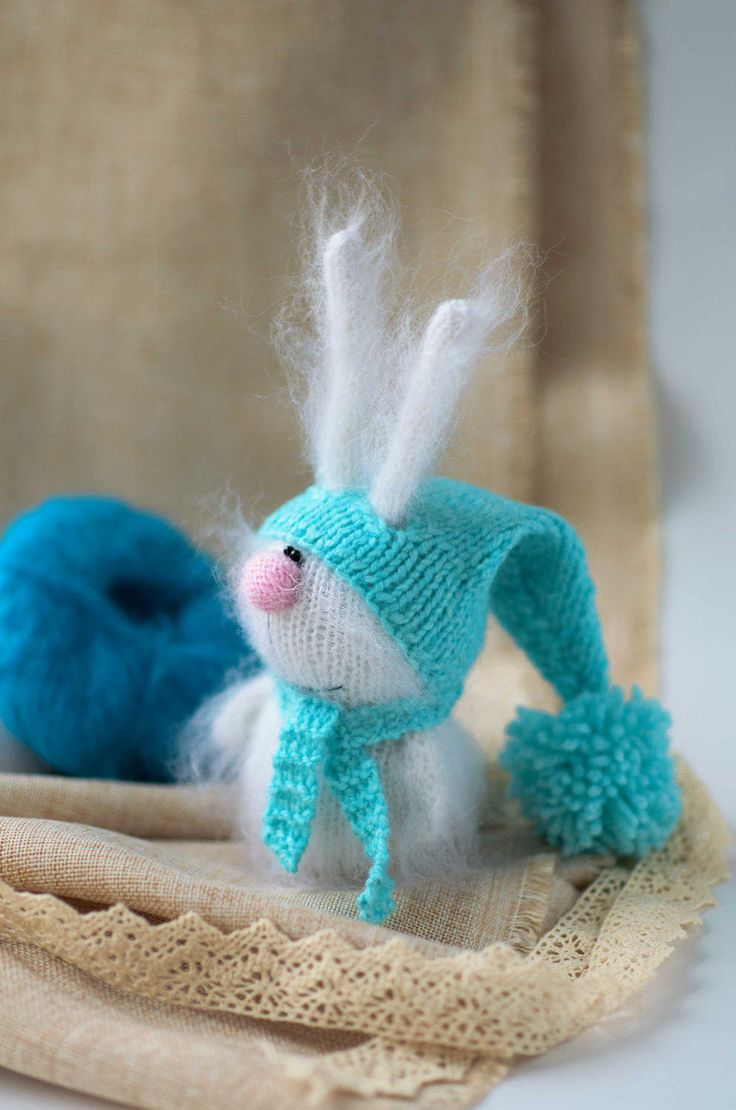 White Bunny in blue Hat Hand-knitted Toy bunny Amigurumi Rubbit Miniature Animals Dolls Bunny Stuffed Toys Bunny Plush Softie Easter decor by MiracleStore on Etsy