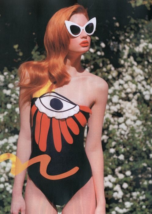 //: Third Eye, Red Hair, Swimsuits, Swimwear, Bath Suits, Fashion Photography, Redheads, Cat Eye Sunglasses, Eyes
