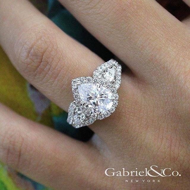 14k White Gold Pear Shape 3 Stones Halo Engagement Ring