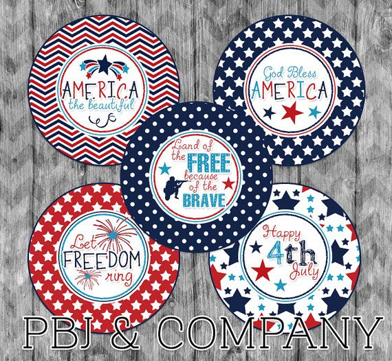 Let Freedom Ring 4x6 Digital 1 Inch Bottle Cap by PBJnCompany