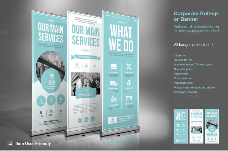 Business Roll-Up Banner. Modern and clean design for banner/rollup. Perfect for ...