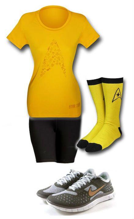 FITNESS: Star Trek Outfit for Mommy & Puppy by Danielle Deihm - Compression Shorts: http://oldnavy.gap.com/browse/product.do?pid=387930002 Trek Socks: http://www.superherostuff.com/star-trek/socks/star-trek-uniform-crew-socks-3-pack.html?itemcd=socksstrtrekcost Running Shoes: http://www.sneakers4womendaily.com/nike-free-4-0-v2-dark-graybronze-gold-running-work-womens-shoes-511527-022/