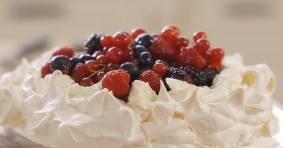 Mary Berry  cassis pavlova with black and redcurrant recipe on Mary Berry's Absolute Favourites