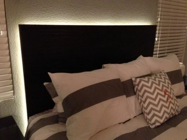 floating headboard with backlit LED lighting (via ...