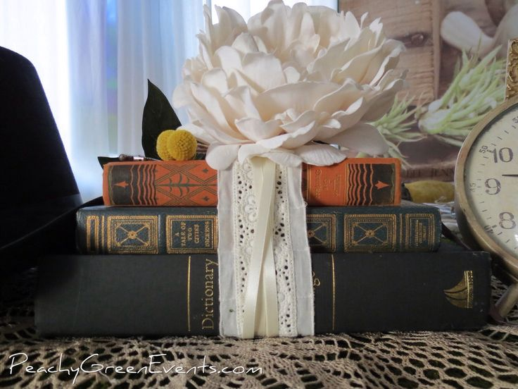 Vintage Hardcover Books for Wedding and Birthday Decor Rentals