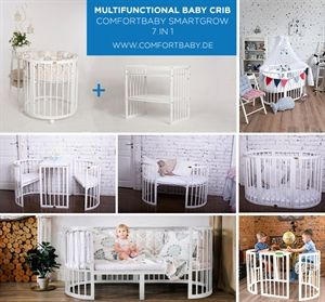 Comfort Baby SmartGrow 7-in-1 ovales Babybett Weiß inkl. Bettset in LEINEN