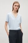 COS image 15 of V-neck cotton t-shirt in Powder Blue