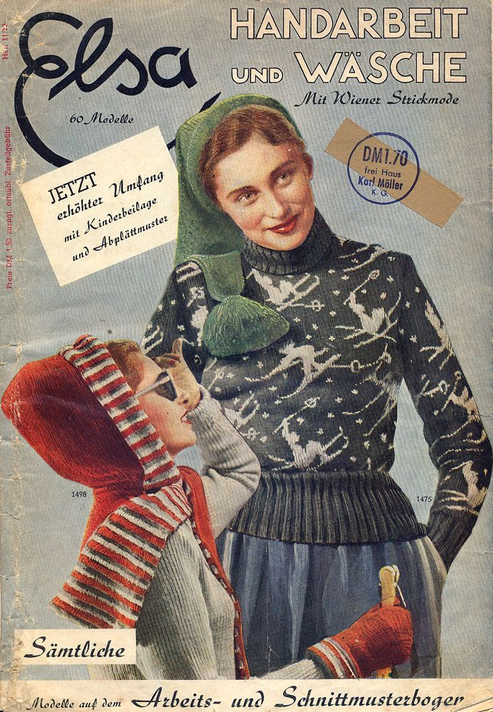 "1940s Magazine Cover Knitted Sweater. ""Elsa"" 11/12 1949 blue red ski wool winter sportswear vintage fashion style novelty print"