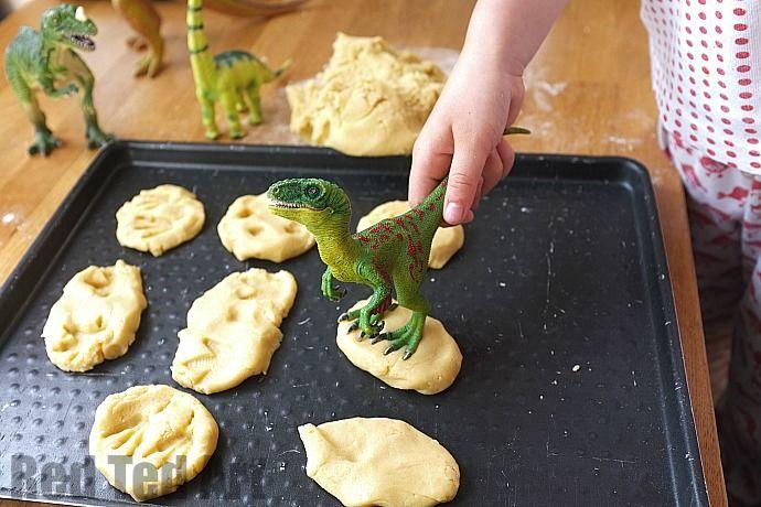 Making dinosaur fossil cookies