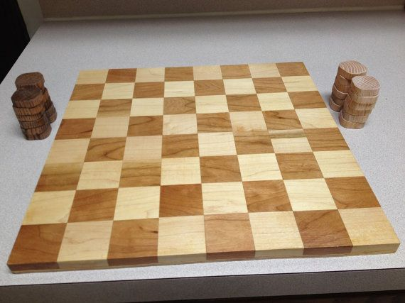 Cherry and Maple Checker/Chess board by MainStCrafts on Etsy