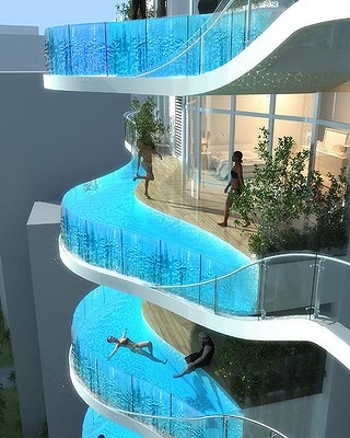 Pools of distinction. The proposed 30 storey Parinee ISM with infinity edge pools.