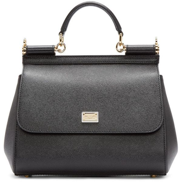 Dolce And Gabbana Black Medium Miss Sicily Bag (€1.375) ❤ liked on Polyvore featuring bags, handbags, shoulder bags, zipper handbag, structured handbag, structured purse, zipper purse and black shoulder bag