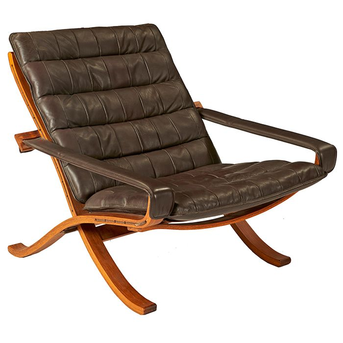 Ingmar Relling, Folding Lounge Chair, Westnofa, Norway, Beech, Leather,  Signed