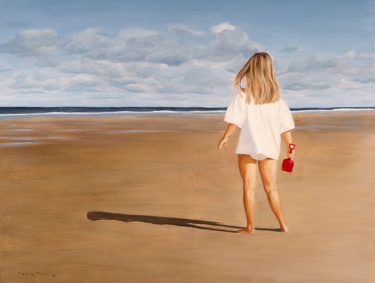 Noëlle met rode schep, oil on canvas, 120 x 100 cm by Patty van Loon