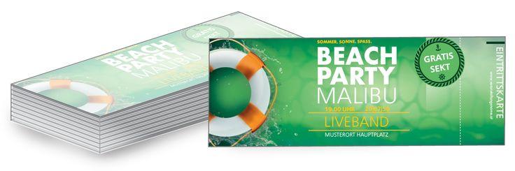 """Eintrittskarten für Ihr Sommerfest im """"Schwimmreifen"""" Design einfach online personalisieren und versandkostenfrei zusenden. #schwimmreifen #schwimmen #beachparty #malibu"""