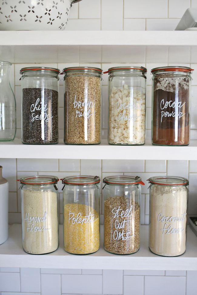 I think the paint pen would be great! Organized pantry - bulk food in jars with paint pen label. Via The Inspired Room.