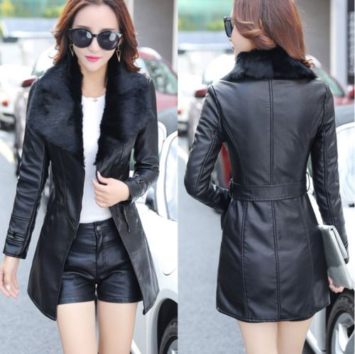 Women's Belt Trench Fur Lined Coat Windbreaker Pu Leather Lapel Slim Fit Jacket