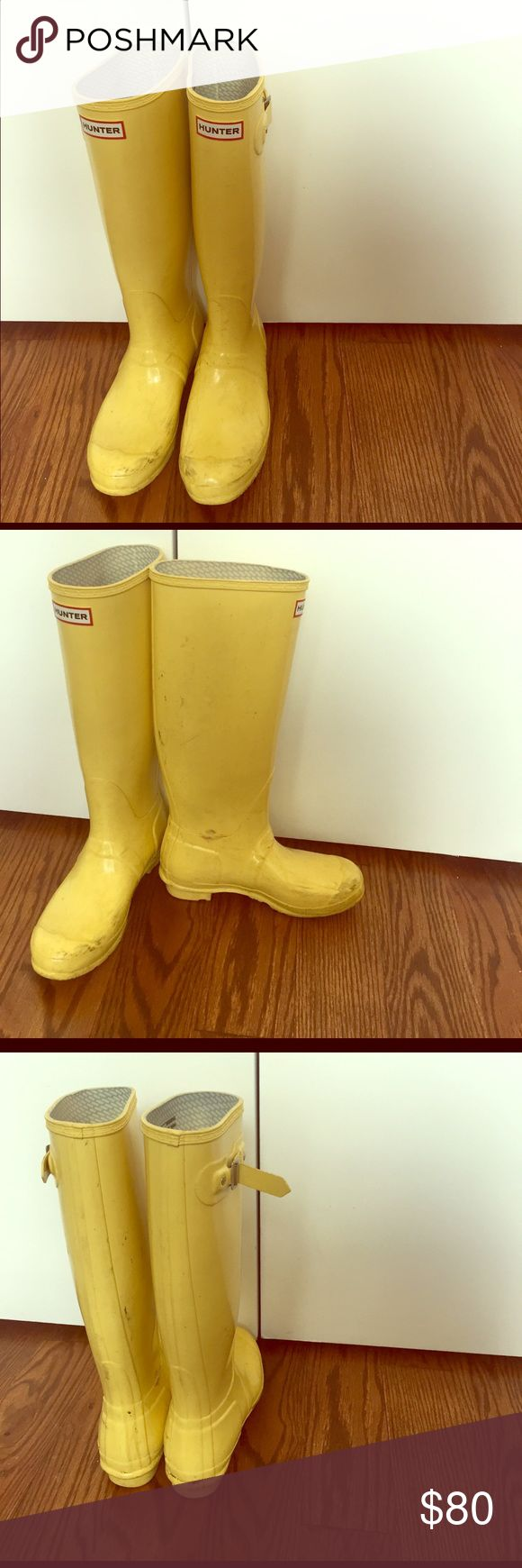 Woman's Hunter Boots Knee-high yellow rain boots. These need a little scrub love. I scrubbed a little. The last two pics are a before the scrub and after. Hunter Boots Shoes Winter & Rain Boots