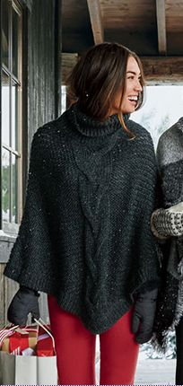 Eddie Bauer Women's Cable Poncho XS/S 10/15