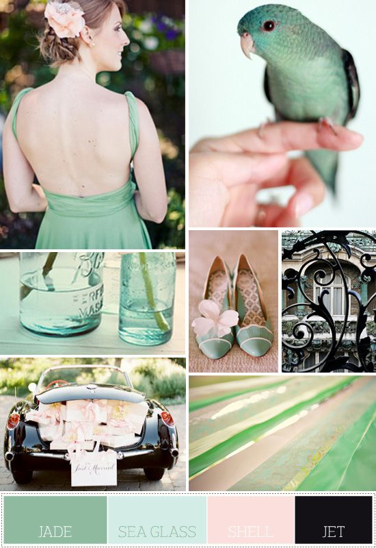 Mint green is IN, IN, IN! Check out these little minty wedding