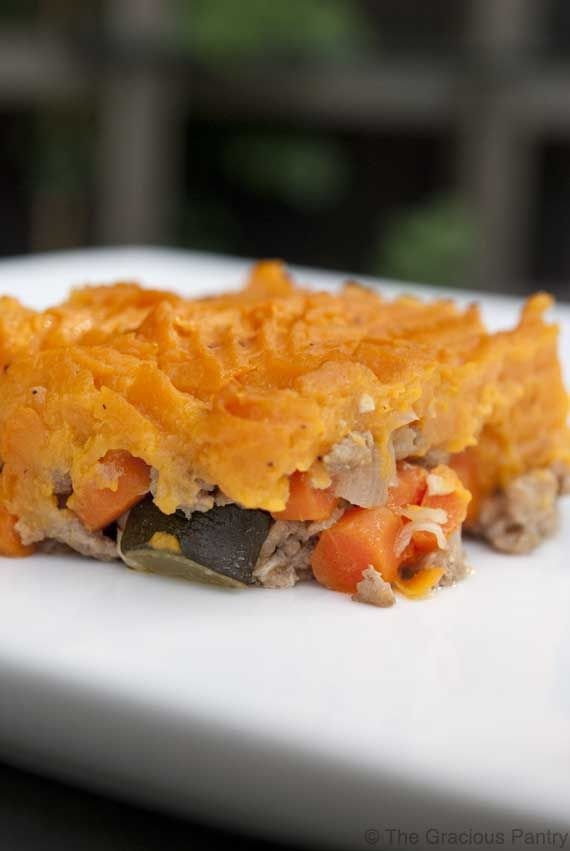 Clean Eating Shepherd's Pie, could substitute regular potatoes for sweet potatoes.