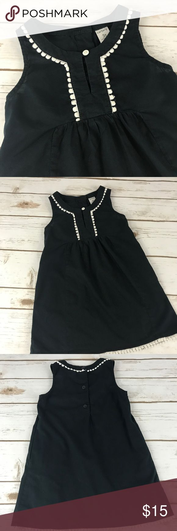 Carter's Blue Dress size 3T This dress is a dark blue with white trim and hidden pockets on the sides. In great condition. Carter's Dresses Casual