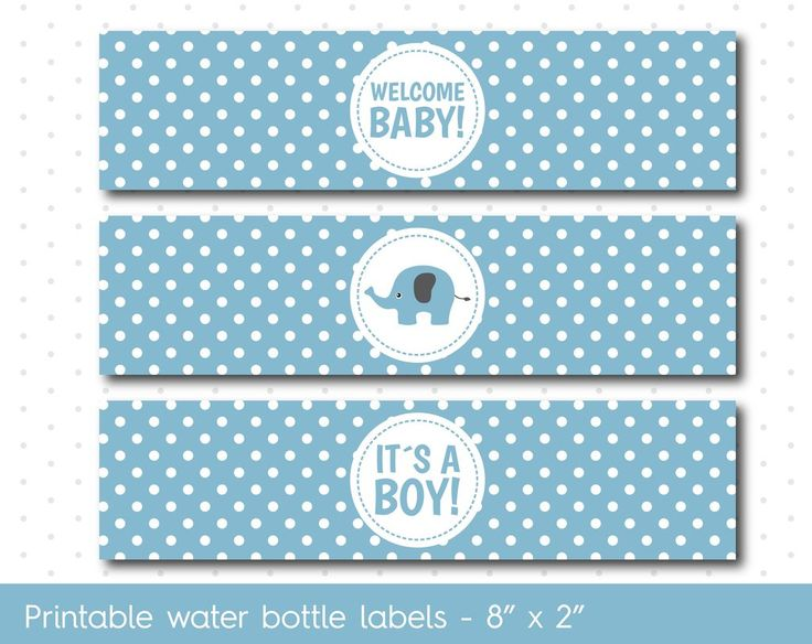 Blue elephant baby shower water bottle labels with polka dots, WA-33