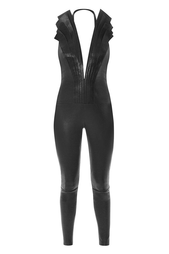 SATOSHI BLACK LEATHER JUMPSUIT available on STYLE-SUITE.COM