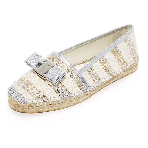 Salvatore Ferragamo Elodie Espadrilles (1,615 SAR) ❤ liked on Polyvore featuring shoes, sandals, panna col, salvatore ferragamo sandals, striped espadrilles, rubber sole sandals, polish shoes and metallic espadrilles