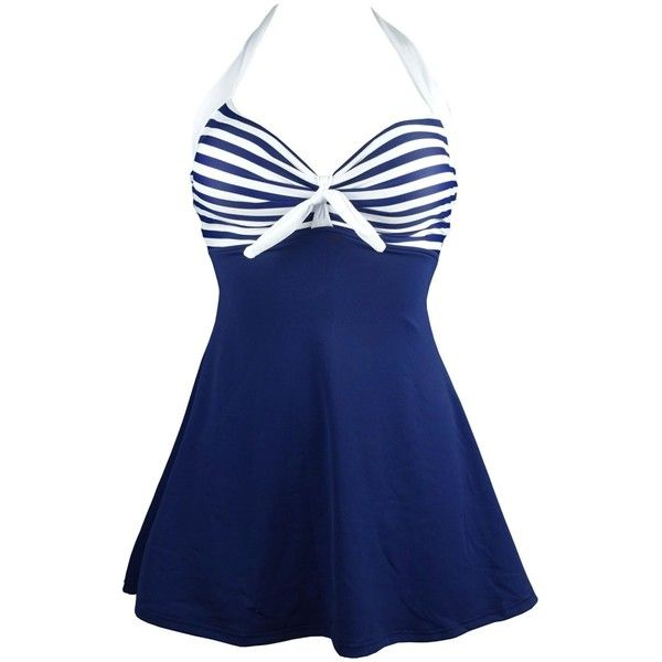 Cocoship White & Navy Blue Striped Vintage Sailor Pin Up Swimsuit One... ($29) ❤ liked on Polyvore featuring swimwear, cover up swimwear, bathing suit cover up, swim skirt, swim suits and vintage one piece bathing suits