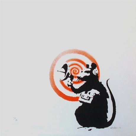 One of the more desirable and rare Banksy prints, 'Radar Rat' is from the small, hand finished with spray paint edition of 75, and features one of the artist's most popular subjects, the rat.Wall Art, Rats Banksy, Favorite Artists, Urban Streetart, Radar Rats, Banksy Prints, Banksy Rats, Rats 2004, Artnet Auction