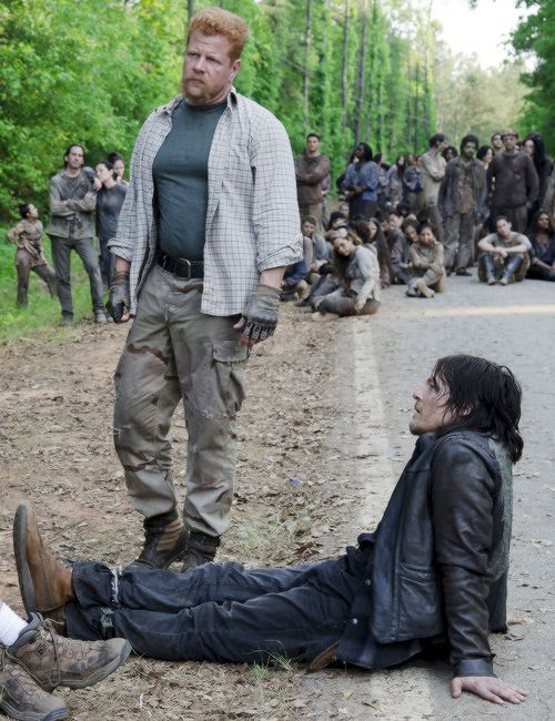 Norman Reedus and Michael Cudlitz behind the scenes of The Walking Dead S6 E1