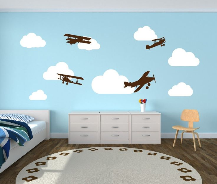 A personal favorite from my Etsy shop https://www.etsy.com/listing/158477172/wall-decal-airplanes-with-clouds-wall