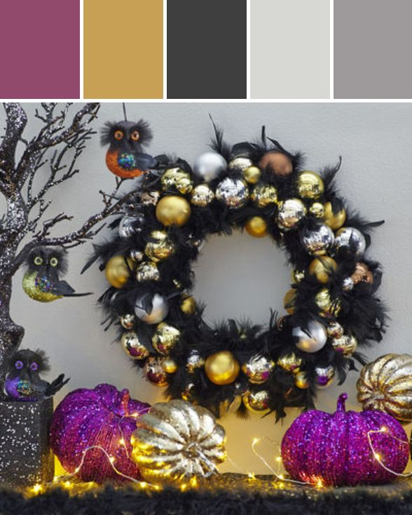 make halloween glamorous with some glittered pumpkins glitter strings and a black magic feather wreath - Glitter Halloween Decorations