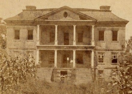 This is a picture of Drayton Hall in Charleston, SC.  It has many parts around the building that has been destroyed by fighting during the many attempts to take Charleston.  Charleston was never taken until the very end of the war.  It has holes and cracked Windows all over the building.