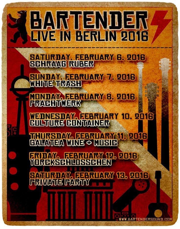 Bartender live show schedule Berlin, Germany 2016