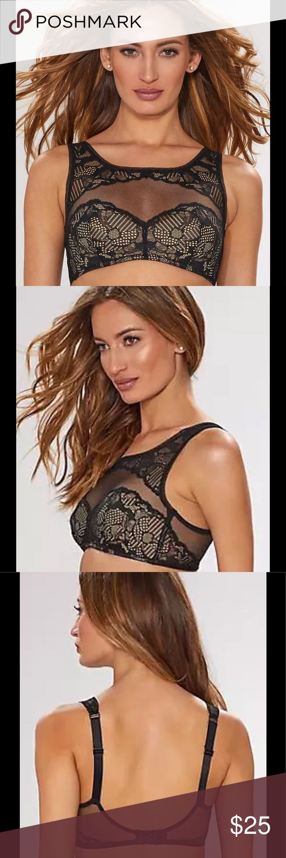 Calvin Klein Linger bralette ❤️💐💕 Calvin Klein Bra Black Floral Lace Wireless Bralette High Neckline Size Medium NEW Retail Price $58.00 ·      This beautiful, romantic and delicate bra in soft floral lace with a high neckline too pretty to cover up. Soft cups Wireless ·      Floral lace elevates this bralette for a semi-sheer look. ·      Illusion boatneck. ·      Adjustable spaghetti straps. ·      Back hook-and-eye closure. ·      Lightly lined ·      Nylon/elastane ·      Hand wash…