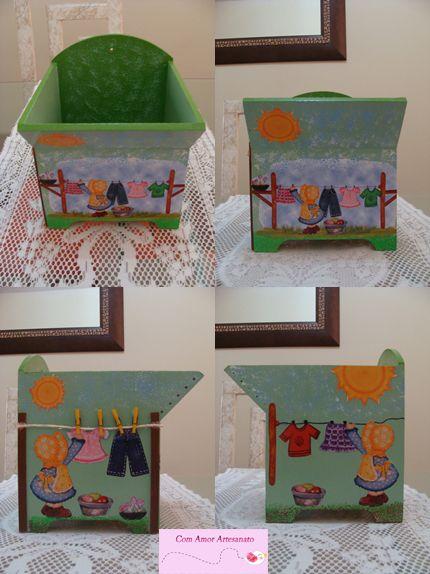 Tanquinho (porta pregador de roupas) porta pregador de roupas em mdf pintado de verde e com detalhes em decoupage