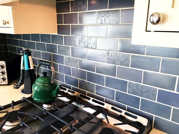 Blue And Copper Subway Tile Kitchen! This Unique Kitchen Uses Bold Blues  With Exciting Accents To Create A Cozy Cottage Look.