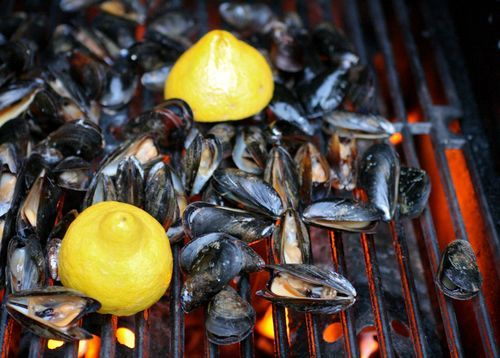 Grilled Mussels with Herb Butter...I would've never thought to grill them.