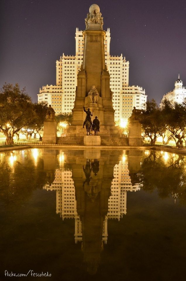 Plaza de España Madrid, Spain I would like to visit this place because I like how it is all lit up and I am kinda curious as to which people of Spain's history the statues are of.