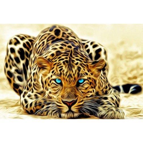 Tablou pe panza luminos- Leopard pictat - Unic in Romania - PROMOTIE